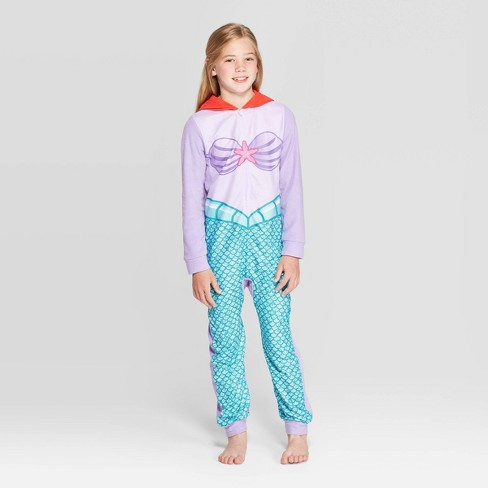 Girls' The Little Mermaid Blanket Sleeper - Purple - image 1 of 3