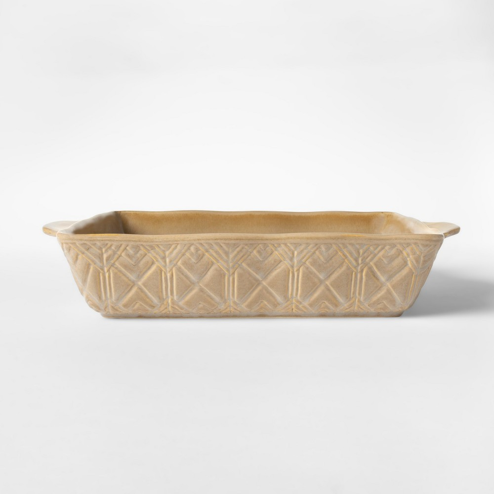 "Image of ""Cravings by Chrissy Teigen 11.25""""x7.75"""" Embossed Stoneware Bakeware with Handle Tan"""