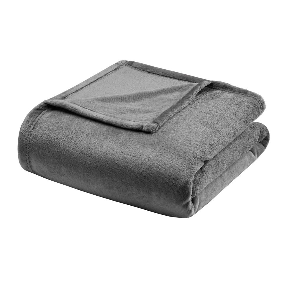 Microlight Plush Blanket Twin Charcoal