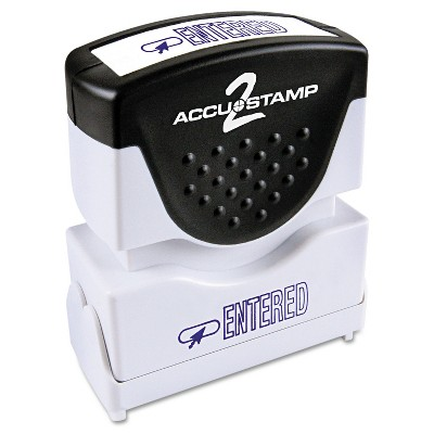 Accustamp2 Pre-Inked Shutter Stamp with Microban Blue ENTERED 1 5/8 x 1/2 035573