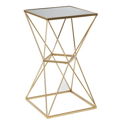 Glam Geometric Mirrored Accent Table Gold - Olivia & May