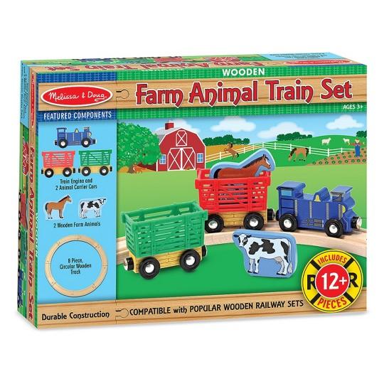 Melissa & Doug Farm Animal Wooden Train Set (12+pc) image number null