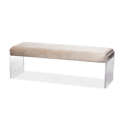 Hildon Modern and Contemporary Microsuede Fabric Upholstered Lux Bench with Paneled Acrylic Legs - Buff Beige - Baxton Studio