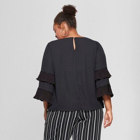 f2a07ee63c7 Women s Plus Size Pleated Long Sleeve Blouse - Ava...   Target