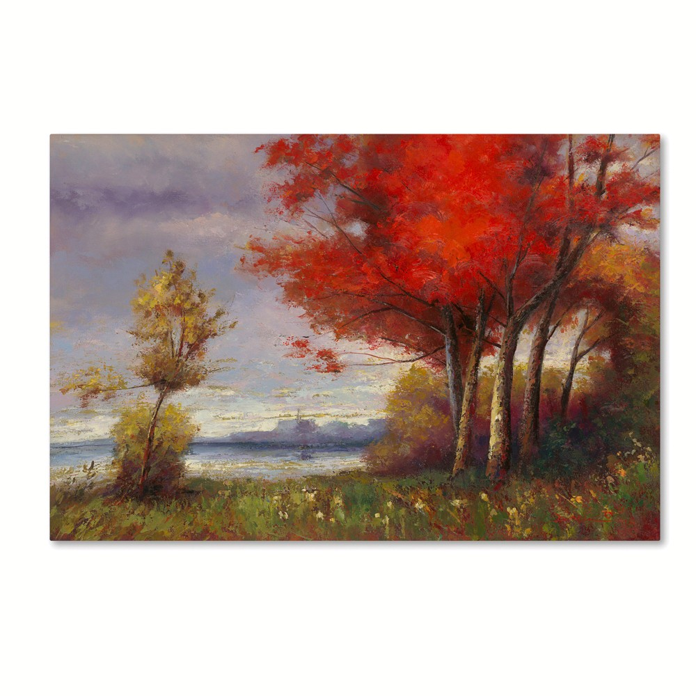 "Image of ""Trademark Fine Art 47"""" X 30"""" Daniel Moises 'Landscape with Red Trees' Canvas Art"""