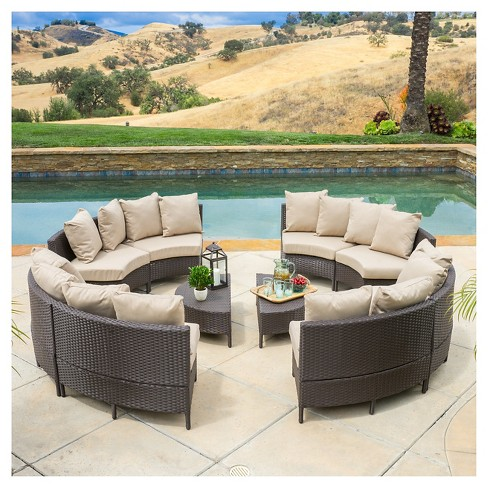 Newton 10pc Wicker Patio Lounge Set Dark Brown With Taupe Cushions Christopher Knight Home Target