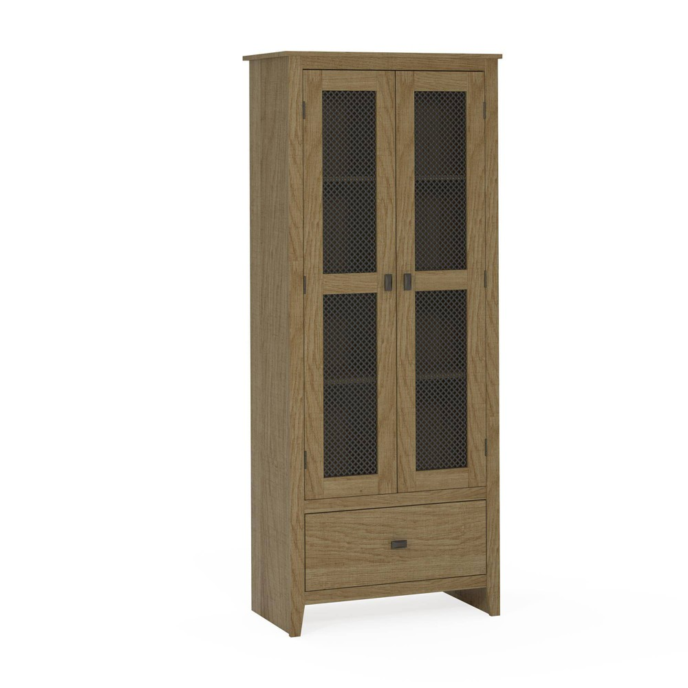30 Coulwood Wide Storage Cabinet with Mesh Doors Oak (Brown) - Room & Joy