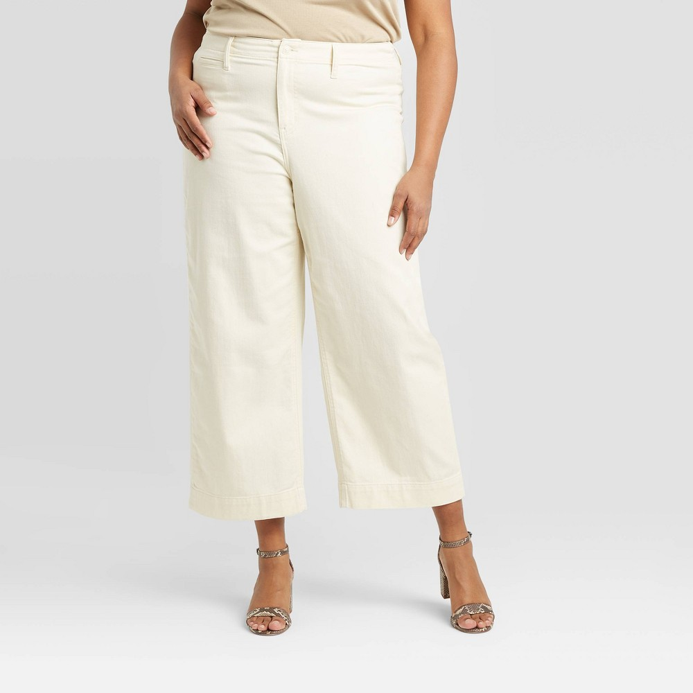 Women's Plus Size High-Rise Cropped Wide Leg Pants - A New Day Cream 22W, Women's, Ivory was $29.99 now $20.99 (30.0% off)