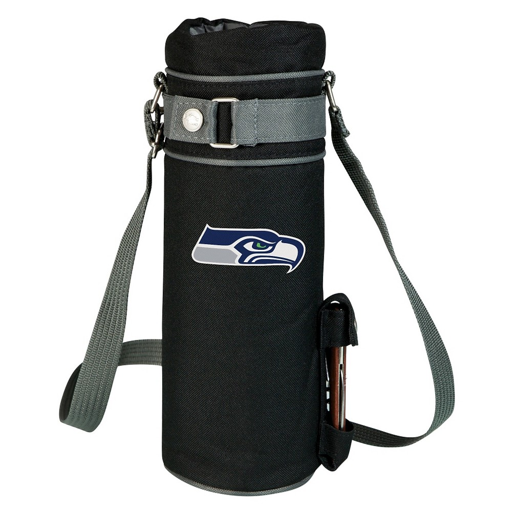 Seattle Seahawks - Wine Sack Beverage Tote by Picnic Time (Black) Those who enjoy wine will appreciate the style and simplicity of the Wine Sack, an insulated single-bottle tote with an adjustable shoulder strap. It features a stainless steel waiter-style corkscrew conveniently stored in its own secure pocket. The Wine Sack is made of polyester canvas with complementing brown trim. The tote is fully-insulated to keep your wine at the perfect temperature until you're ready to uncork it. Perfect for any occasion. When you'd like to bring your own wine to share, let the Wine Sack help you take it there! Color: Seattle Seahawks.