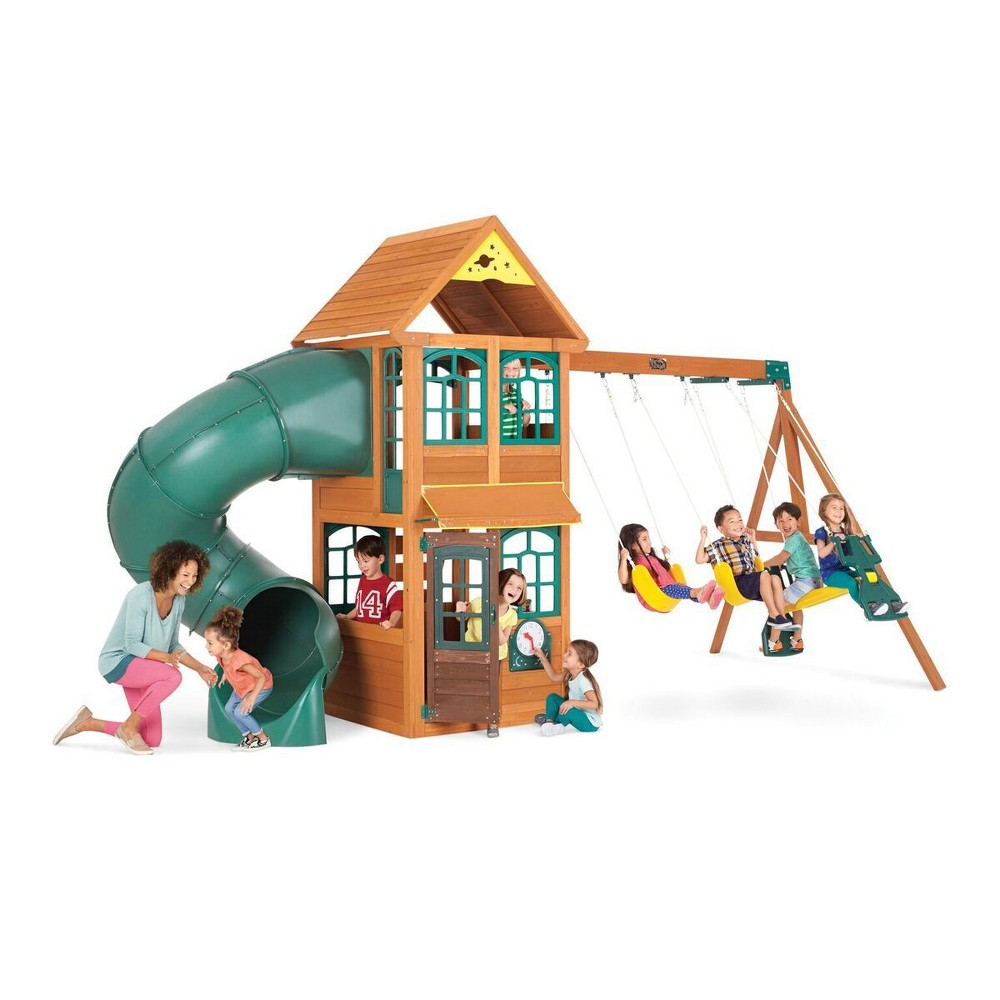 KidKraft Cloverdale Wooden Swing Set/Playset, Multi-Colored