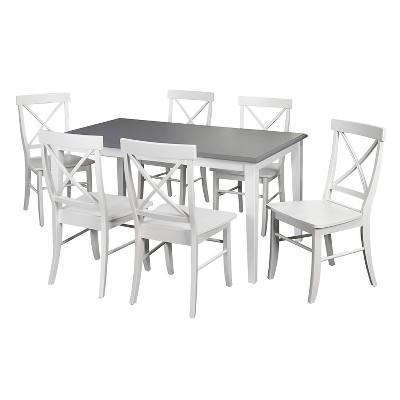 Helena Dining Set White/Gray 7 Piece - TMS