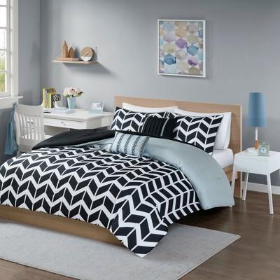Black Darcy Comforter Set Chevron King/California King 5pc