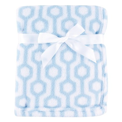 Luvable Friends Unisex Baby Coral Fleece Blanket - Blue Hexagon One Size