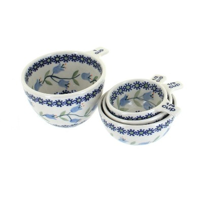 Blue Rose Polish Pottery Tulip Measuring Cup Set