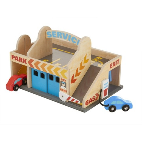 Melissa & Doug Service Station Parking Garage With 2 Wooden Cars and Drive-Thru Car Wash - image 1 of 4