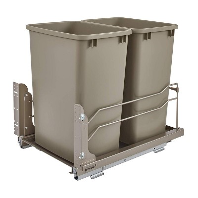 Rev-A-Shelf 53WC-1835SCDM-212 Double 35-Quart Pull-Out Under Mount Kitchen Waste Container Trash Cans with Soft-Close Slides, Champagne