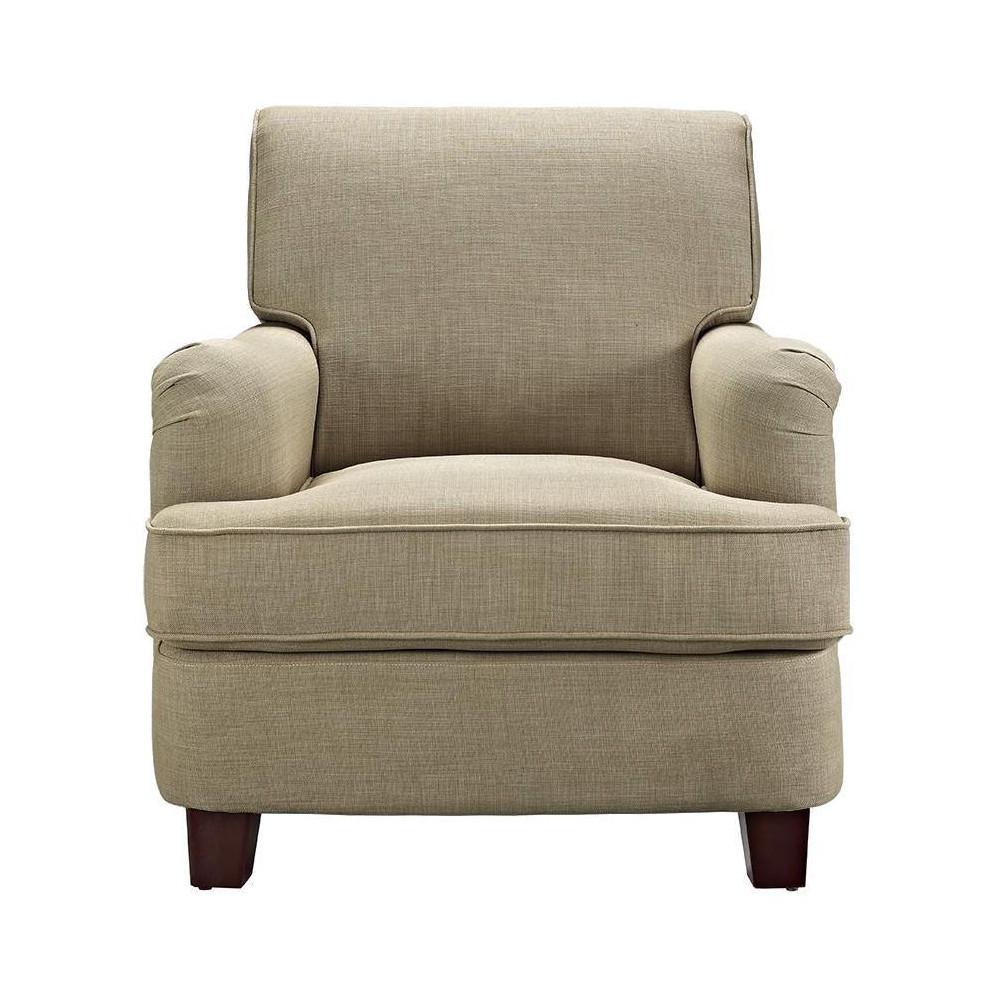 London Arm Linen Club Chair with Nailheads - Beige - Dorel Living