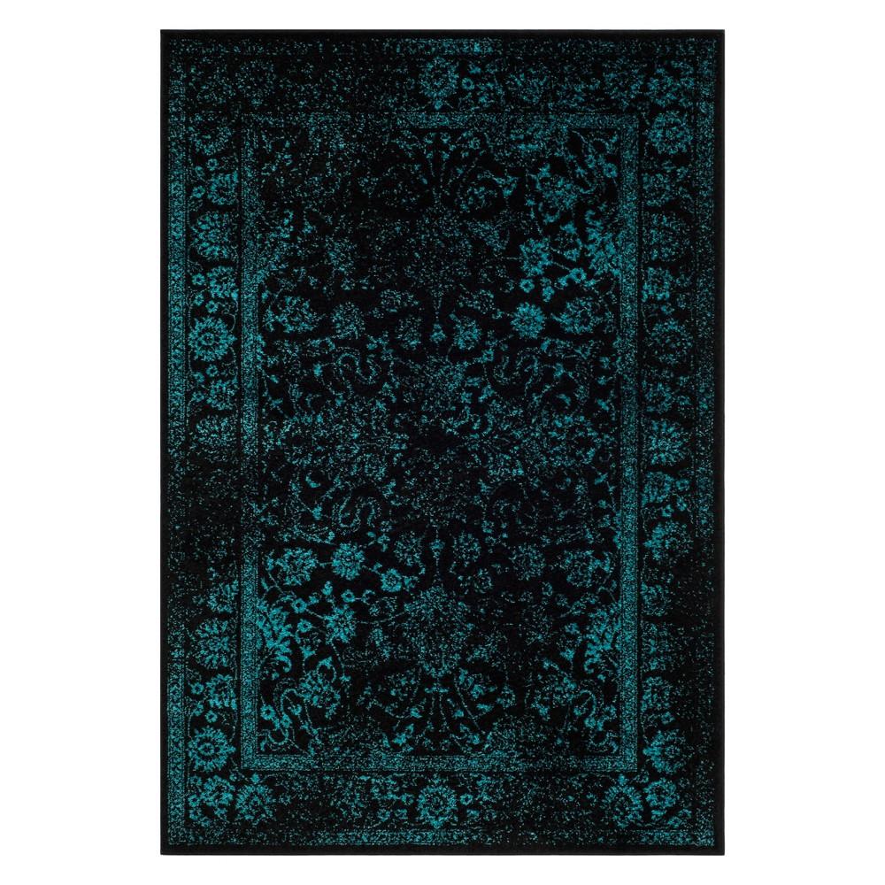6'X9' Spacedye Design Area Rug Black/Teal (Black/Blue) - Safavieh