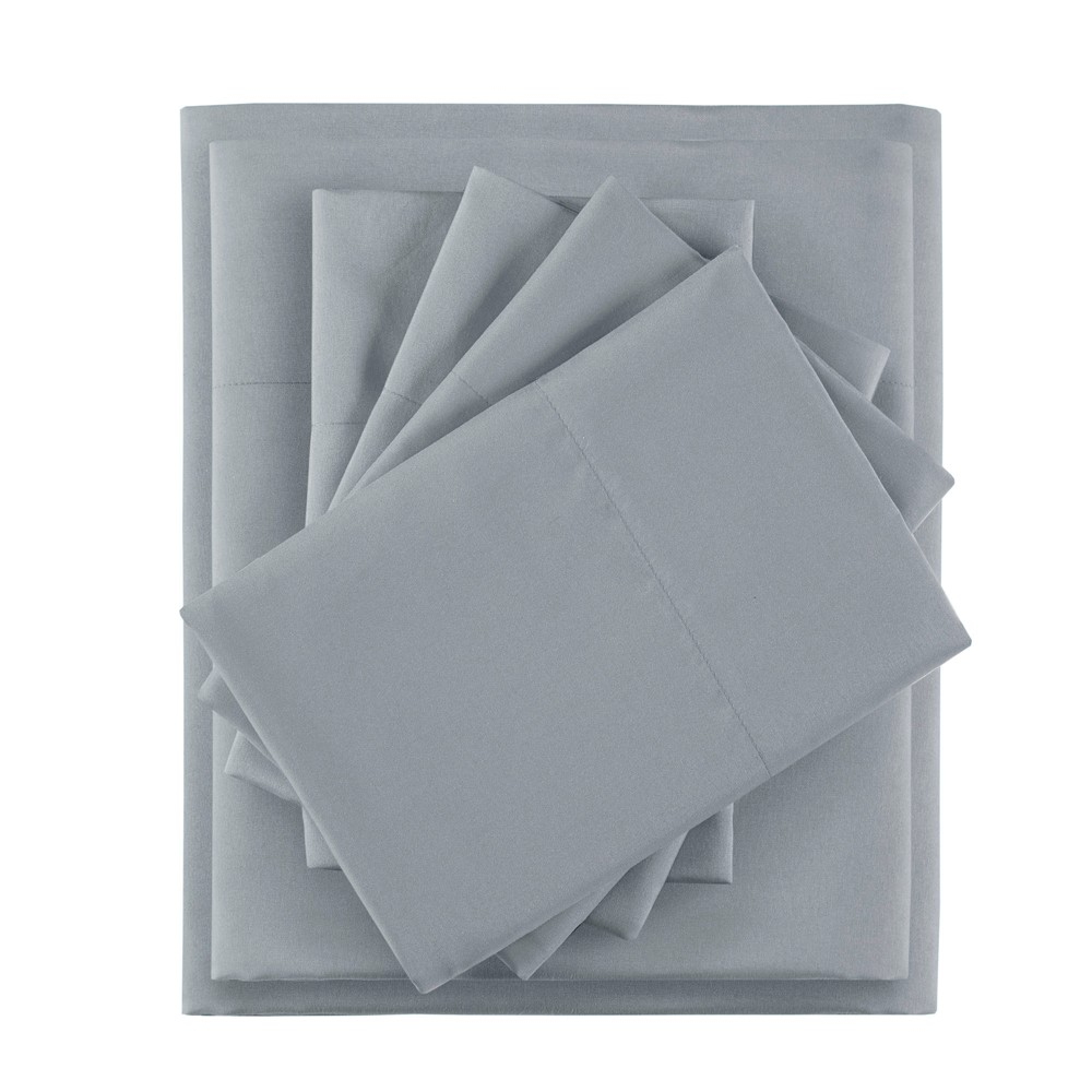 Queen 6pc Microfiber Sheet Set with Side Storage Pockets Gray