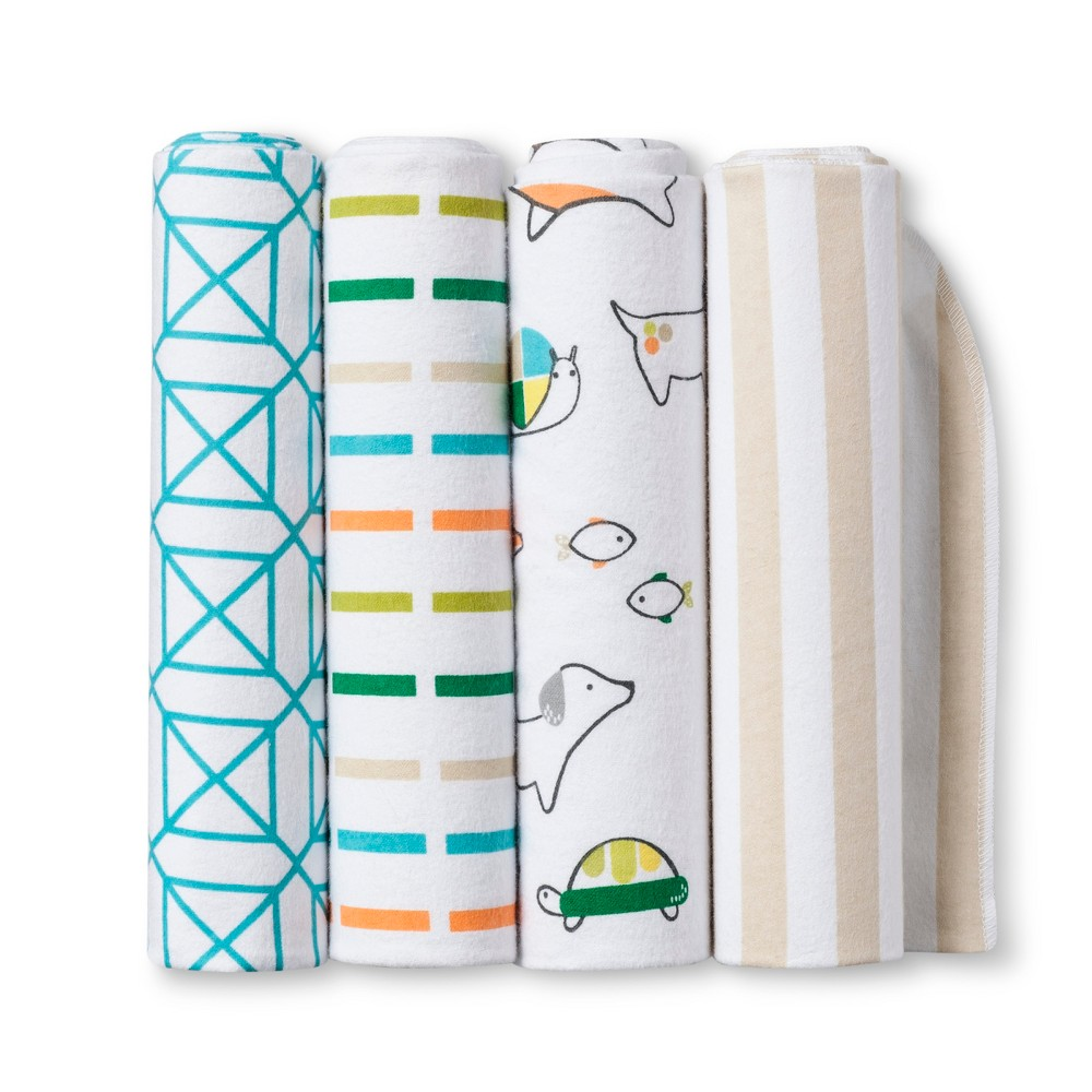 Image of Flannel Baby Blankets Animals 4pk - Cloud Island , White Multicolored