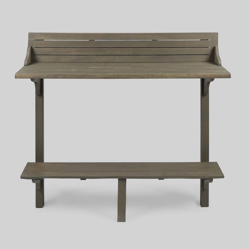 Caribbean Acacia Wood Balcony Bar Table - Gray - Christopher Knight Home