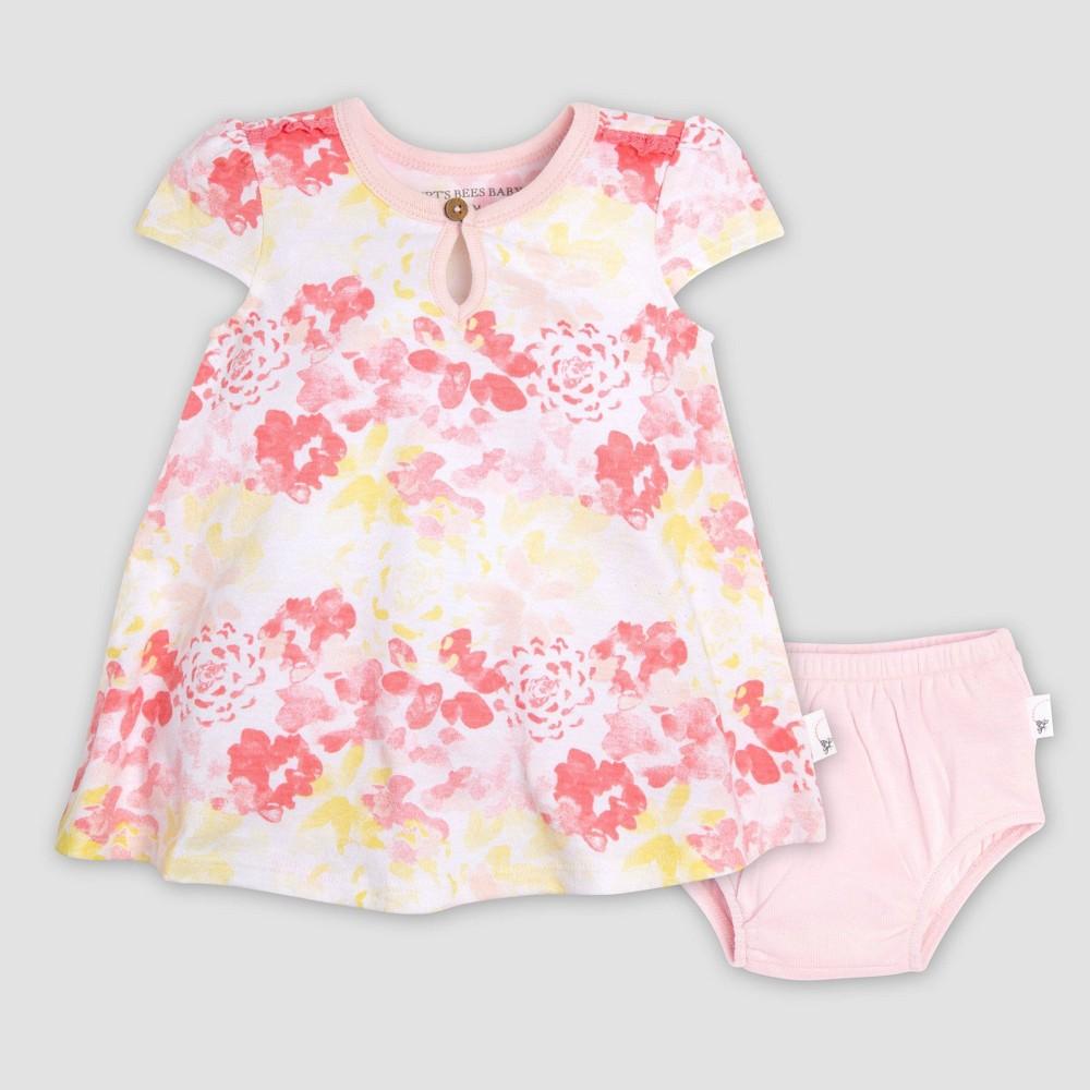 Burts Bees Baby Baby Girls Organic Floral Trim Dress /& Diaper Cover Set