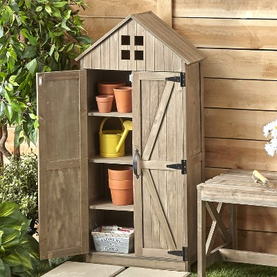 Lakeside Outdoor Storage Cabinet with Distressed Wood Finish