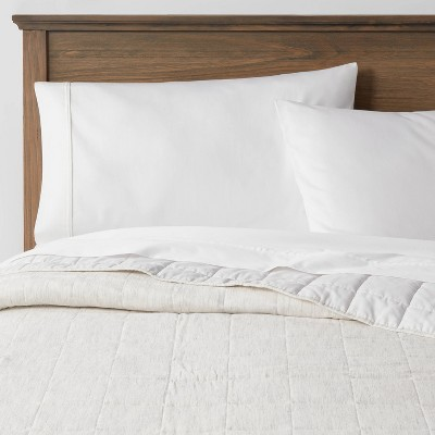Full/Queen Space Dyed Cotton Linen Quilt Light Gray - Threshold™