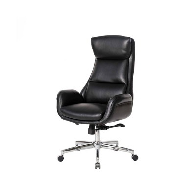 Mid-Century Modern Air Leatherette Adjustable Swivel High Back Office Chair - Glitzhome