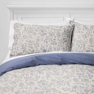 King Floral Matelasse Duvet Cover Set Blue - Threshold™