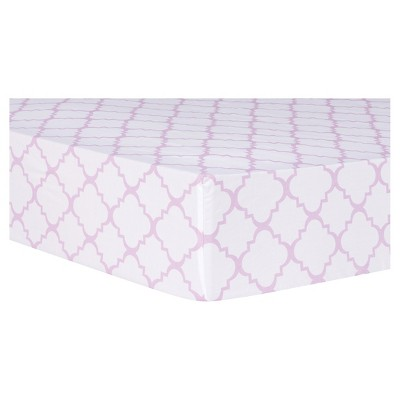 Trend Lab Orchid Bloom Fitted Crib Sheet - Quatrefoil