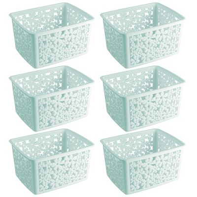 mDesign Bathroom Storage Organizer Bin, Large, Floral, 6 Pack