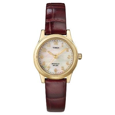 Women's Timex Watch with Leather Strap - Gold/Mother of Pearl/Brown T216939J