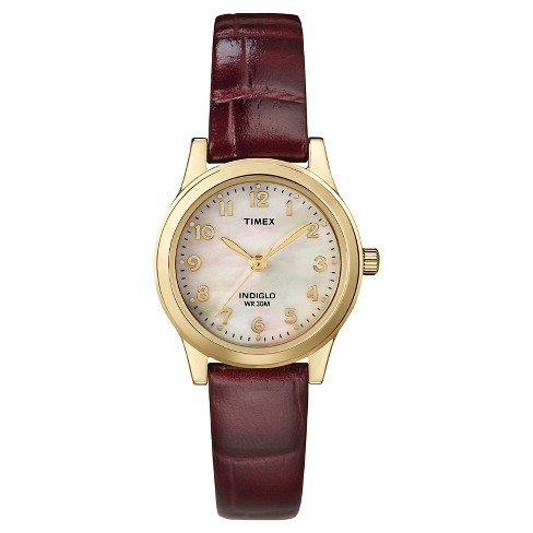 Women's Timex Watch with Leather Strap - Gold/Mother of Pearl/Brown T216939J - image 1 of 1