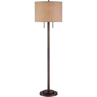 Possini Euro Design Modern Floor Lamp Oil Rubbed Bronze Burlap Fabric Drum Shade for Living Room Reading Bedroom Office