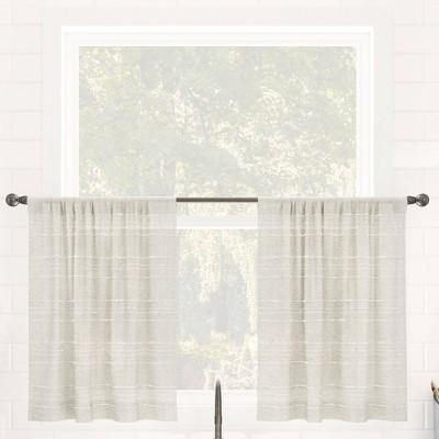 Set of 2 Textured Slub Striped Anti-Dust Linen Blend Sheer Cafe Curtain Tiers - Clean Window