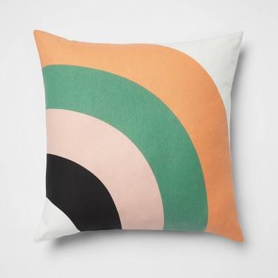 Rainbow Printed Cotton Square Throw Pillow - Room Essentials™