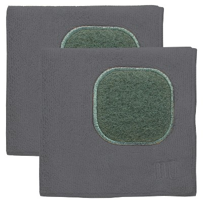 2pk Microfiber Dish Cloths with Scrubber Dark Gray - MU Kitchen