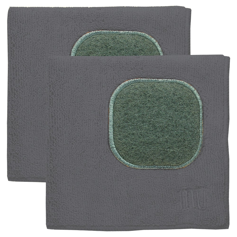 "Image of ""12""""X12"""" 2pk Microfiber Dish Cloth With Scrubber Dark Gray - Mu Kitchen"""