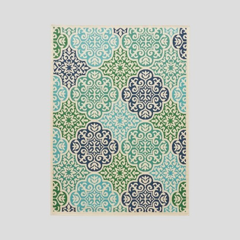 Sierra Medallion Outdoor Rug Ivory - Christopher Knight Home - image 1 of 5