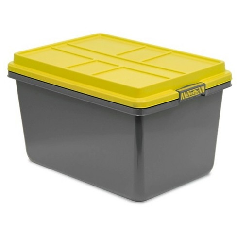 Hefty 72 Quart Storage Tote Stronger Plastic Pro Container In Dark Gray With Bright Stackable Hi Rise Lid