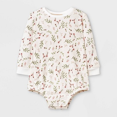 Grayson Mini Baby Girls' Floral French Terry Bubble Romper - White 0-3M