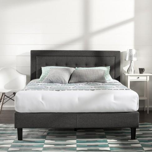 Dupont Tufted Upholstered Platform Bed Queen Dark Gray