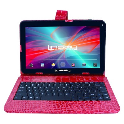 """LINSAY 10.1"""" Quad Core Tablet with Red Crocodile Style Keyboard Case 32GB"""