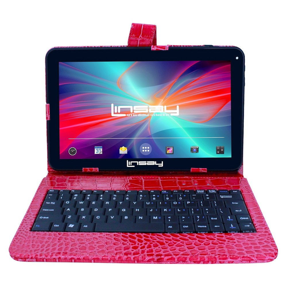 "LINSAY 10.1"" 1024x600 HD Quad Core 16GB Internal Memory Tablet with Red Crocodile Style Keyboard Case"