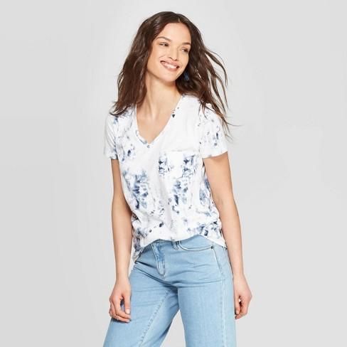 Women's Short Sleeve V-Neck T-Shirt Universal Thread™ Tie Dye - image 1 of 10