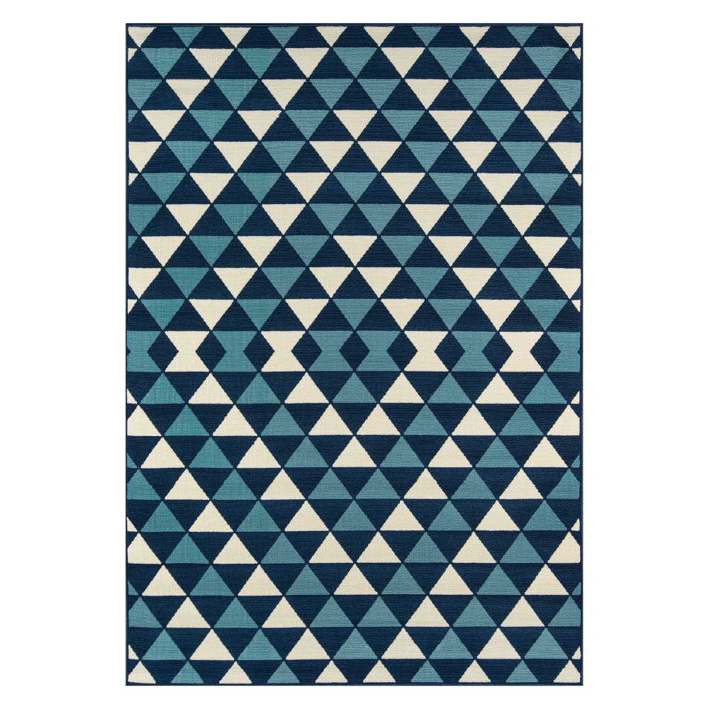 "Image of ""2'3""""X4'6"""" Geometric Loomed Accent Rug Blue - Momeni"""