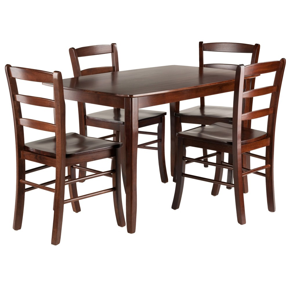 5pc Inglewood Dining Table With 4 Ladderback Chairs Walnut (Brown) - Winsome