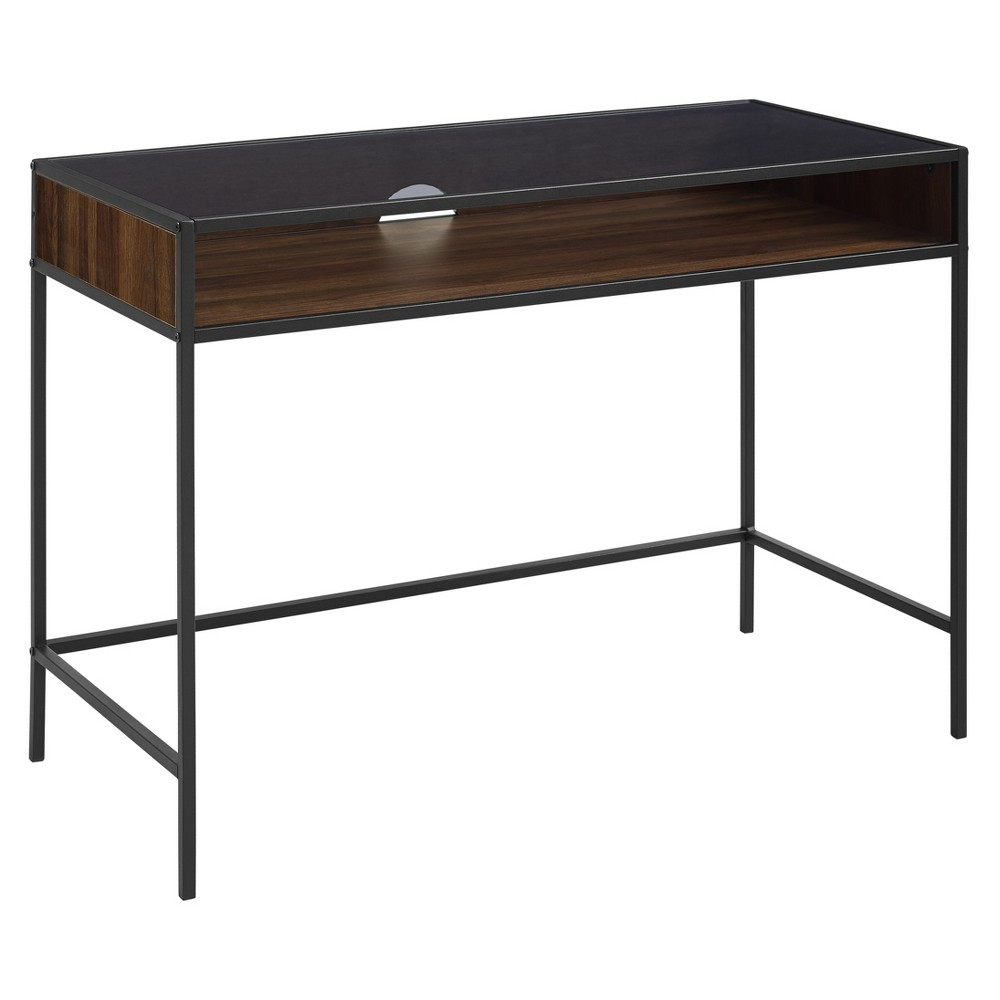 42 Metal and Wood Desk with Glass and Shelf Dark Walnut - Saracina Home