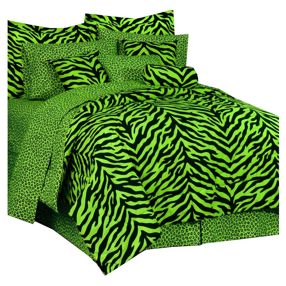 Image of Lime Zebra Print Multiple Piece Comforter Set (Twin) 6 Piece - Karin Maki, Green